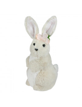 "11.5"" Beige Plush Standing Easter Bunny Rabbit Girl Spring Figure"