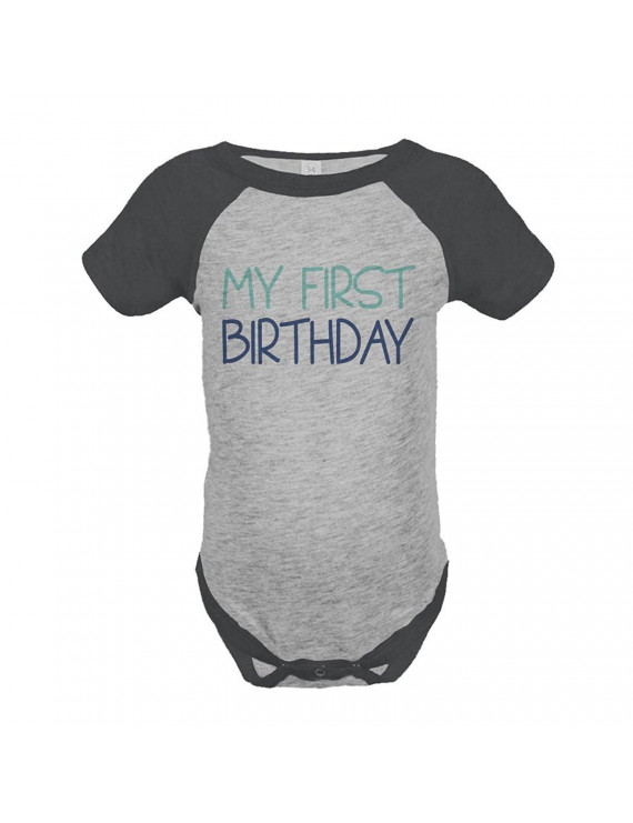 Custom Party Shop Boy's My First Birthday Vintage Baseball Tee Onepiece - Grey and Blue / 12 Months