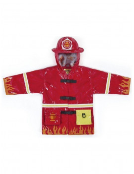 Little Boys Red Fireman Pockets Helmet Hooded Rain Coat 2T-6X