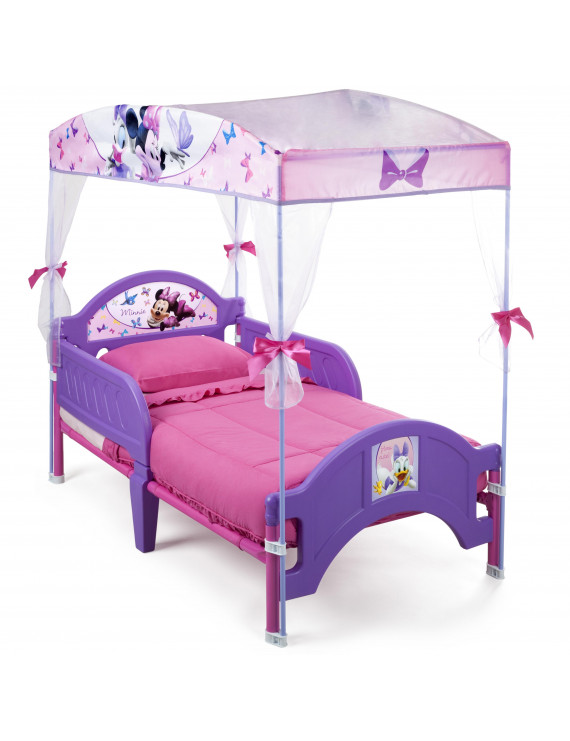 Delta Children Disney Minnie Mouse Plastic Toddler Canopy Bed, Purple