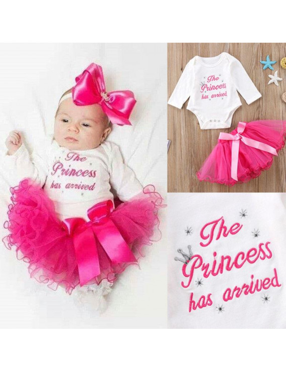 Newborn Baby Girl Princss Outfits Clothes Romper Tops+Tulle Tutu Skirts Dress