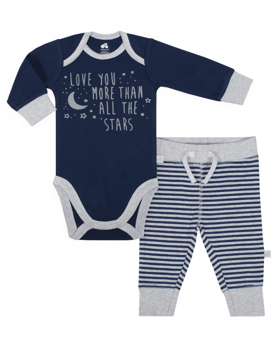 Just Born® Organic Baby Boy 2-piece Outer Space Bodysuit and Pants Set