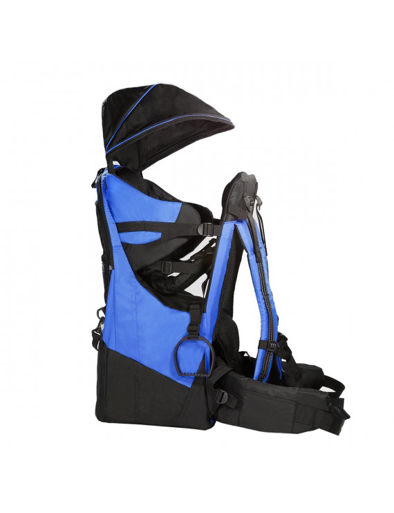 Clevr Deluxe Baby Backpack Hiking Cross Country Lightweight Carrier w/ Stand and Sun Shade Visor, Blue