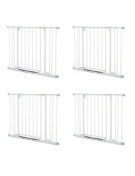 North States Easy Close Metal Baby Child and Pet Safety Gate, White (4 Pack)
