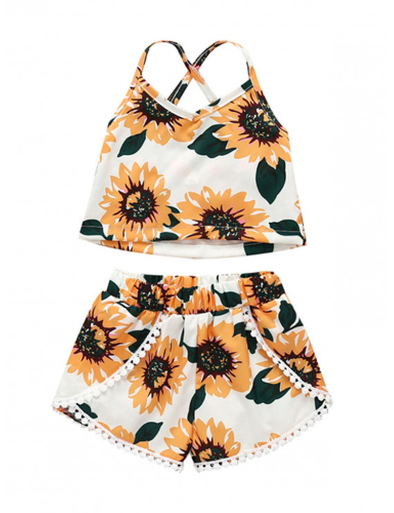 Summer Toddler Kids Baby Girl Clothes Sunflower Sleeveless Vest Tops Shorts Outfits Set