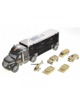 AZ Trading T35A Military Truck Transport Car Toy Carrier with 6 Army Cars