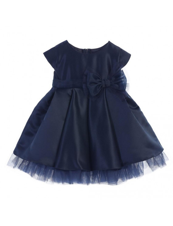 Baby Girls Navy Satin Full Pleated Bow Accent Christmas Dress 6-24M