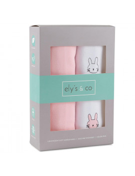 100% Cotton Wearable Blanket Sleep Bag 2 Pack Pink Bunnies and Solid Pink Large 6-12 Months