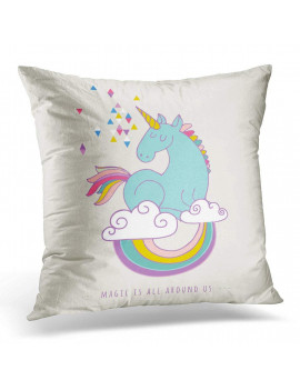 ARHOME White Birthday Cute Magic Unicorn and Rainbow Happy Pillow Case Pillow Cover 20x20 inch