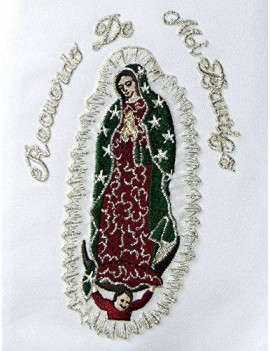Altotux Satin Embroidered Christening Baptism Stole Scarf Sash Lady of Guadalupe (2T-4T, With Words)