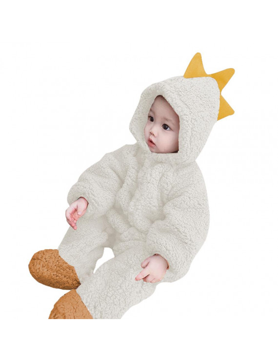 Baby Animal Hooded Rompers One-Piece Toddlers Autumn Winter Coral Fleece Pajamas Unisex Jumpsuit Costumes (Dinosaur)