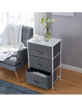 3 Drawer Vertical Storage Dresser Tower - White Wood Top - Sturdy Metal Frame - Linen Fabric Storage Bins with Pull Tabs - Organizer Unit for Hallway, Entryway, Closets and Bedroom - Gray