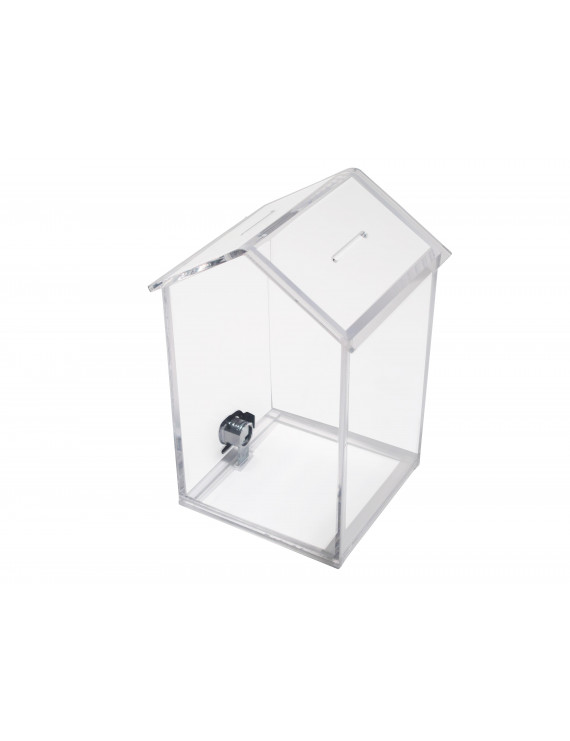MCB Penthouse Shape Acrylic Box - Charity Donation Box - Ballot & Suggestion Box - Tip Container