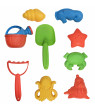 Beach Toys Mega Pack  Bulk Beach & Sandbox Play Set w/ Unique Crab, Shell & Sea Life Sand Molds, Shovel, Rake, Watering Can & BONUS Basket Carry Bag w/ Handles  Available in Pink or Blue
