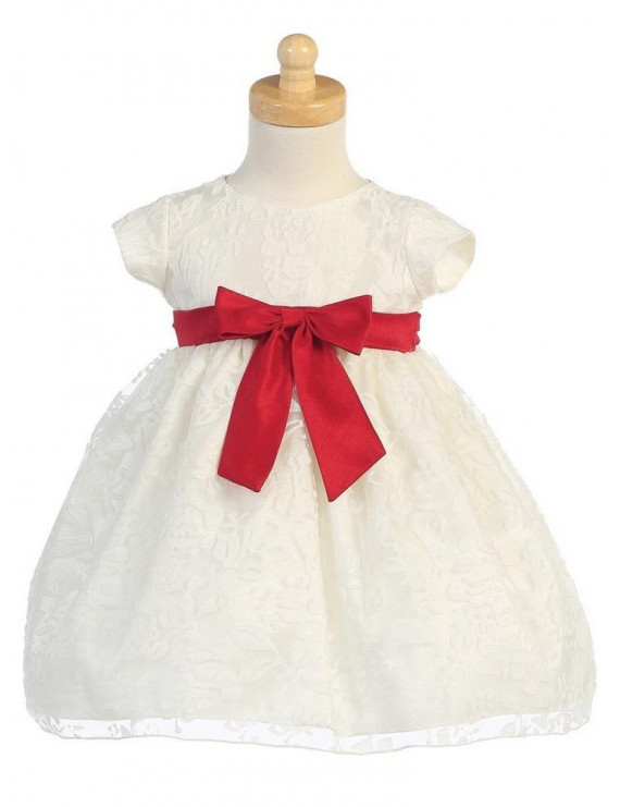 Ivory Organza Burnout Red Bow Baby Girl Dress 24M