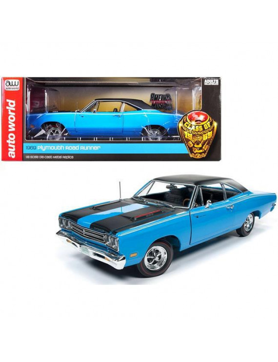 Autoworld AMM1184 1969 Plymouth Road Runner Hardtop Petty Blue with Black Top & Black Stripes Looney Tunes Class of 1969 1 by 18 Diecast Model Car
