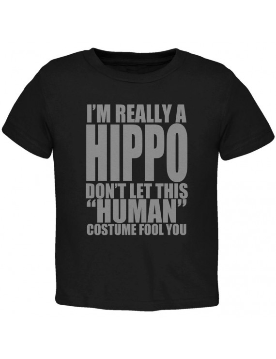 Halloween Human Hippo Costume Toddler T Shirt Black 3T