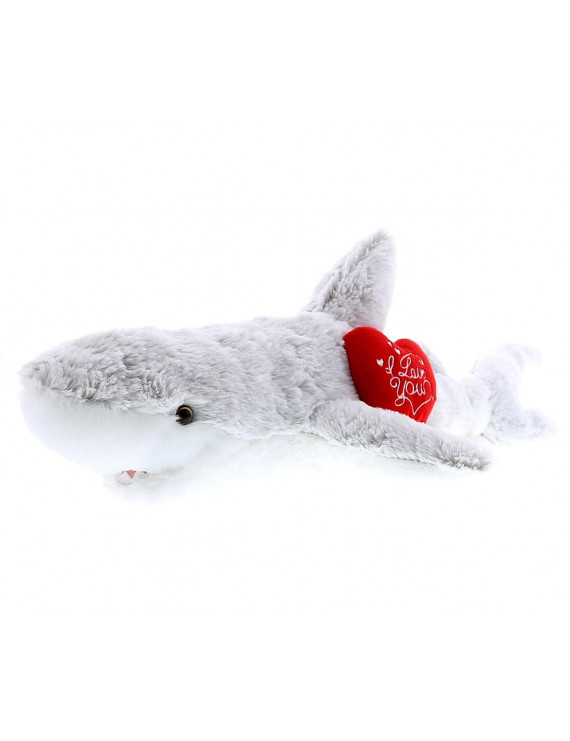 Dollibu White Shark Size: 23 inch I Love You Valentines Stuffed Animal Heart Message Super Soft Plush Perfect Cuddle Toy Gift Critter For Him/Her or Kids Stuffed Toy For Ages 3+