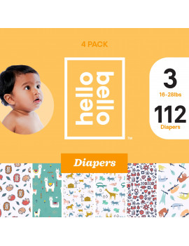 Hello Bello Diaper Variety Pack - Prickly Critters, Llamasoft, Free Range, Animal Crackers, Lovebirds, & Sleepy Sloths - Size 3 (108ct)