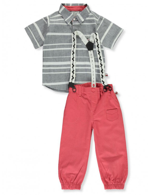 Dapper Dude Baby Boys' Stripe Suspenders 2-Piece Pants Set Outfit (Infant)