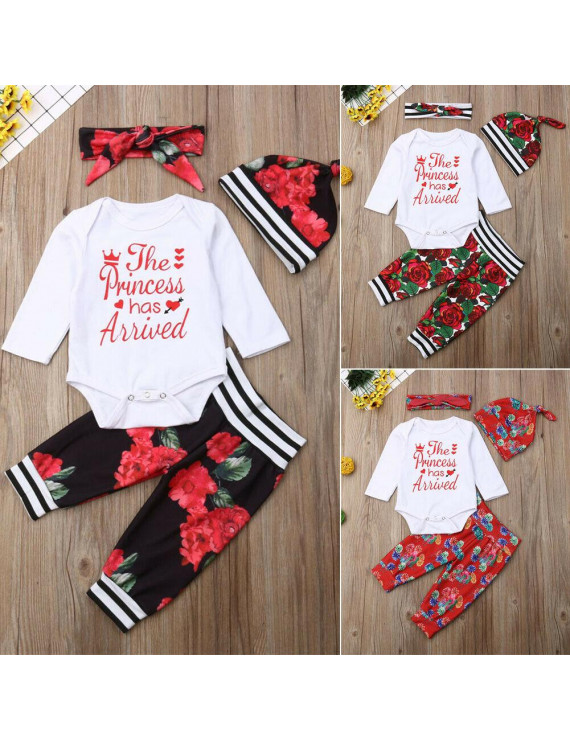 4Pcs Newborn Infant Baby Girl Tops Romper Floral Pants Outfits Set Clothes 0-24M