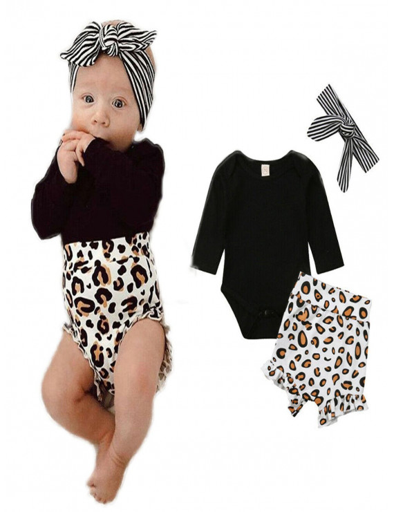 Newborn Baby Girl Leopard print Clothes Long Sleeve Top Romper Short Pant Outfit