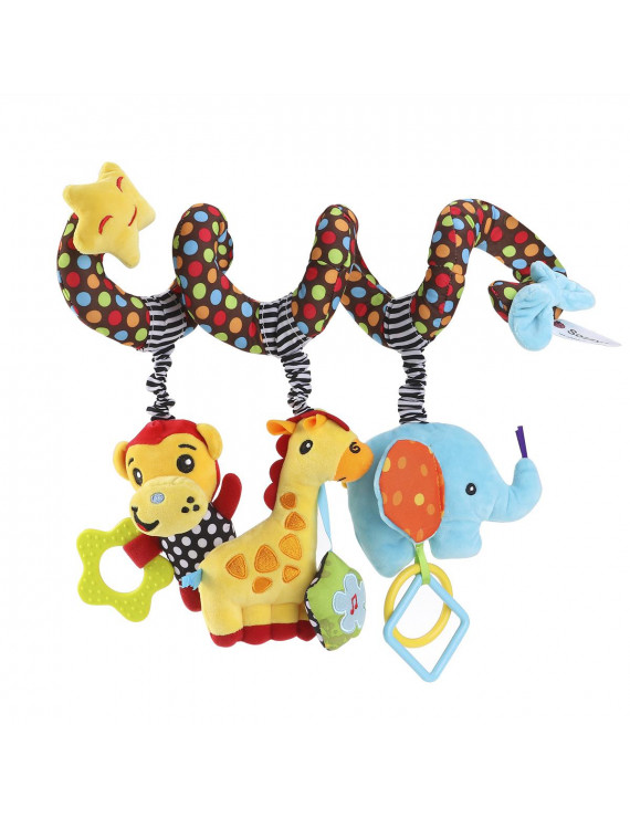 Baby Stroller Wrap Around Toys Infant Car Seat Activity Spiral Bed Monkey Elephant Educational Plush Toy