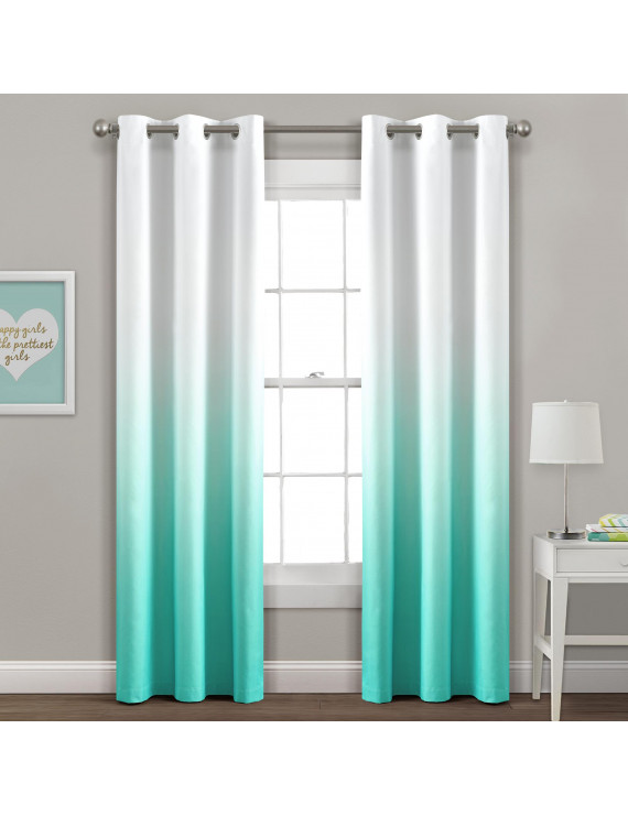Mia Ombre Insulated Grommet Blackout Window Curtain Panels, Set of 2