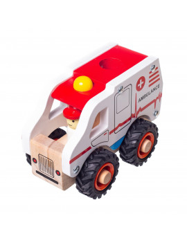 Eliiti Wooden Vehicles Toys Set for Boys Kids 3 to 6 Years Old - Ambulance, Trash Truck, Fire Engine, Ice Cream Truck