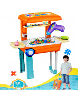 Kids Workbench Toddler Tool Workshop Bench Toy Set Construction Box Juguete Para Niños (142 Pieces)