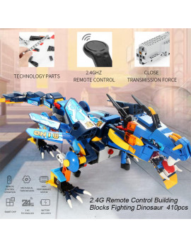 2.4G Remote Control Building Blocks Fighting Dinosaur DIY Dragon Toys Set for Boys and Girls 410pcs