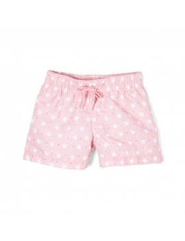 Azul Baby Girls Pink Crown Print Queen Of The Castle Swim Shorts