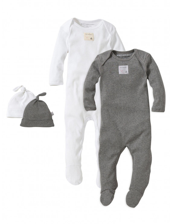 Burt's Bees Baby Gender Neutral Layette Footed Jumpsuits & Knot Top Hats, 4-Piece Gift Set