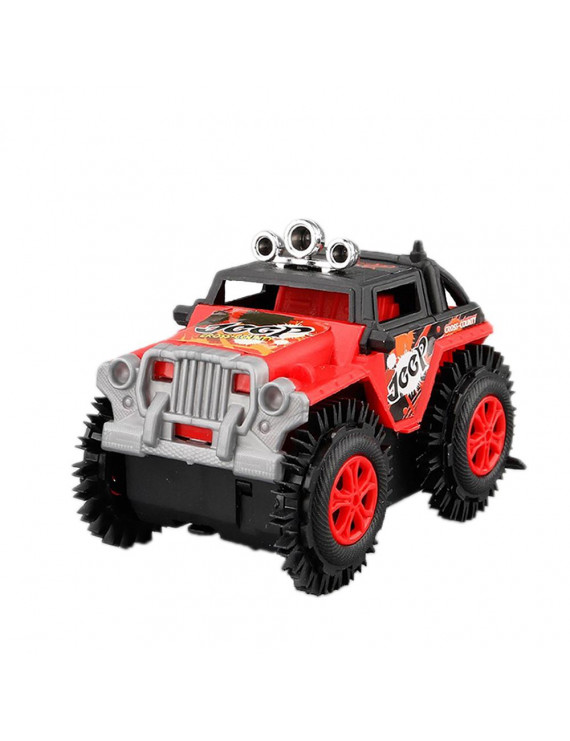 Children's Electric Stunt Flip Toy Car Cartoon Puzzle Dump Truck Off-road Rock Climber Climbing Vehicle Red