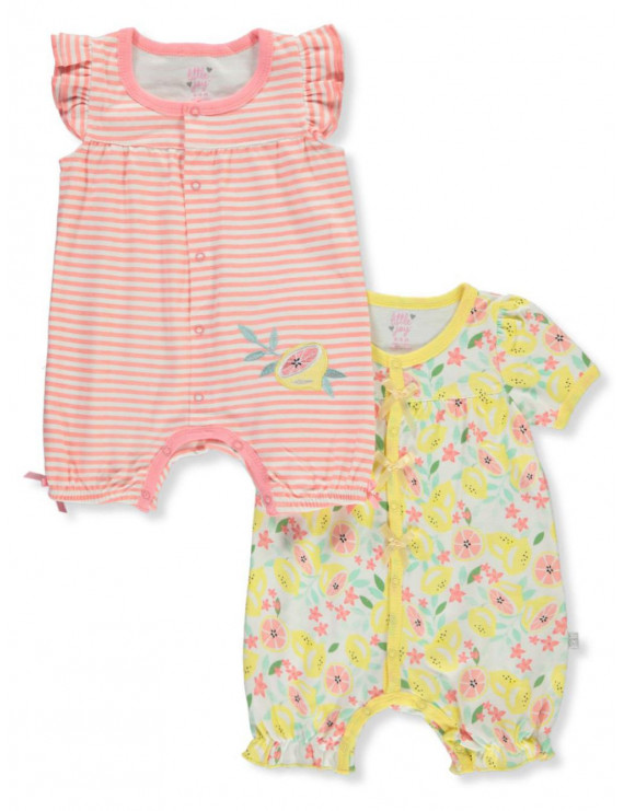 Little Joy Baby Girls' Citrus 2-Pack Rompers (Newborn)