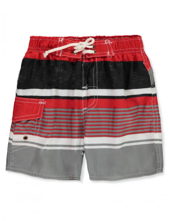 Quad Seven Baby Boys' Side Pocket Striped Swim Trunks (Infant)