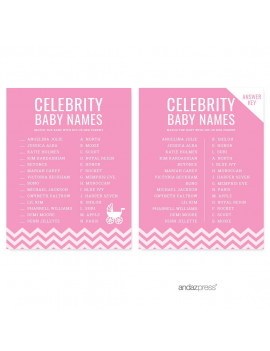 Celebrity Name Game Bubblegum Pink Chevron Baby Shower Games, 20-Pack