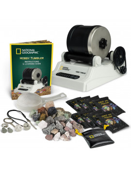 NATIONAL GEOGRAPHIC Hobby Rock Tumbler Kit- with 1 lb of Rough Gemstones, 4 Polishing Grits, Jewelry Fastenings and Detailed Guide- Educational STEM Toy