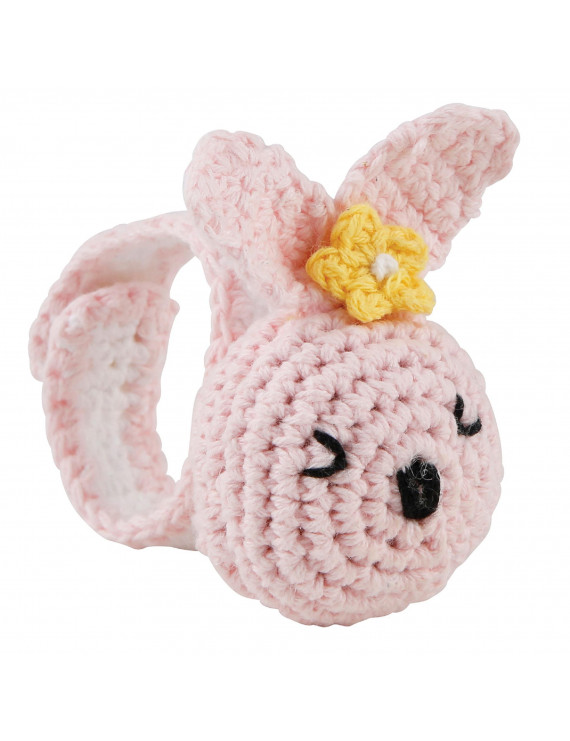 """2"""" Soft Cotton Crochet Rattle Wristlet with """"Pink Bunny"""" Design for Babies"""