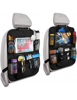 1 Pack Backseat Car Organizer, Kick Mats Car Back Seat Protector with Touch Screen Tablet Holder Storage Pockets for Toys Book Bottle Drinks Kids Baby Toddler Travel Accessories