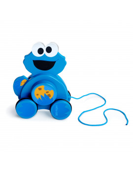 Bright Starts Sesame Street Snack & Stroll Cookie Monster Wooden Pull Toy, Ages 12-36 months