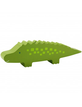 Pearhead Wooden Alligator Piggy Bank, Green