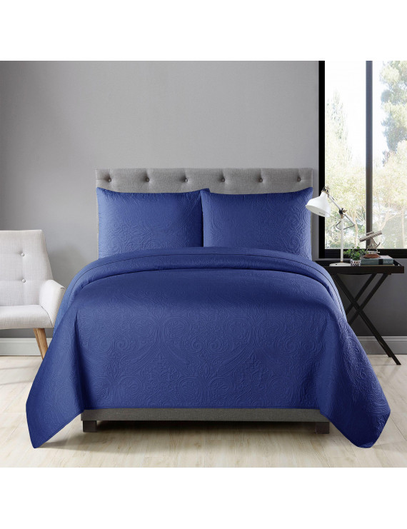 """Golden Linens Over Size 3 Pieces Full/ Queen 108"""" X 95"""" Solid Color Ultrasonic Heavy Quality, Bedspread Coverlet Set # Ultrasonic D1 Navy Blue"""