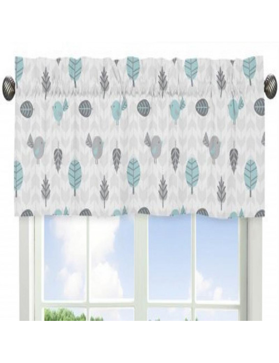 Turquoise Blue and Gray Earth and Sky Collection Bird Print Window Valance