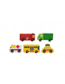 City Transportation Wodden Building Blocks 100 Pc. Includes a variety of vehicles such as fire truck, garbage truck, ambulance, school bus and taxi