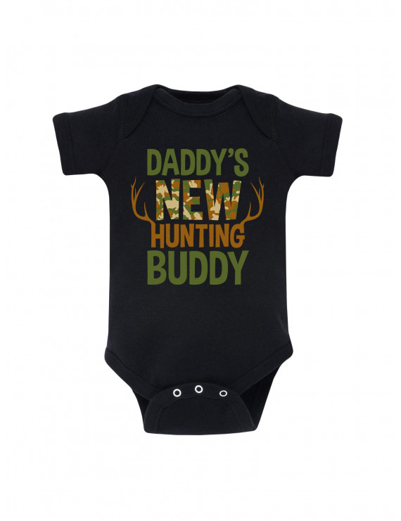 Daddy's New Hunting Buddy, Camo Fill  - Baby One Piece