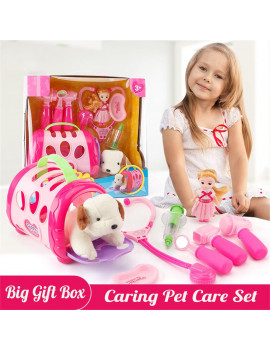 ASky Realistic Pet Vet Play Set, Pretend Play Toy Veterinarian Kit,Dog Care Play Set