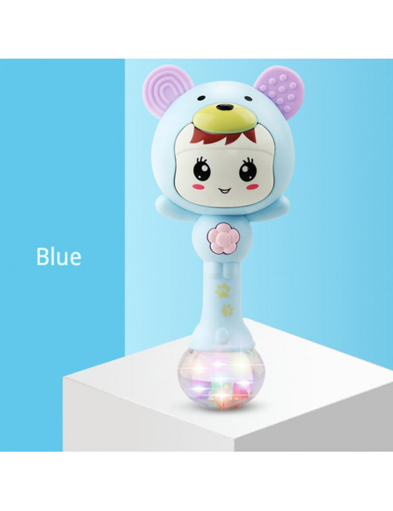 Baby Cute Rattles Musical Hand Bells with Sound Lights Newborn Sand Hammer Bite Teether Educational Toys Smiley blue