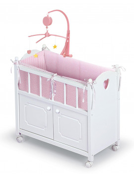 "Badger Basket Cabinet Doll Crib with Gingham Bedding and Free Personalization Kit - White/Pink - Fits American Girl, My Life As & Most 18"" Dolls"