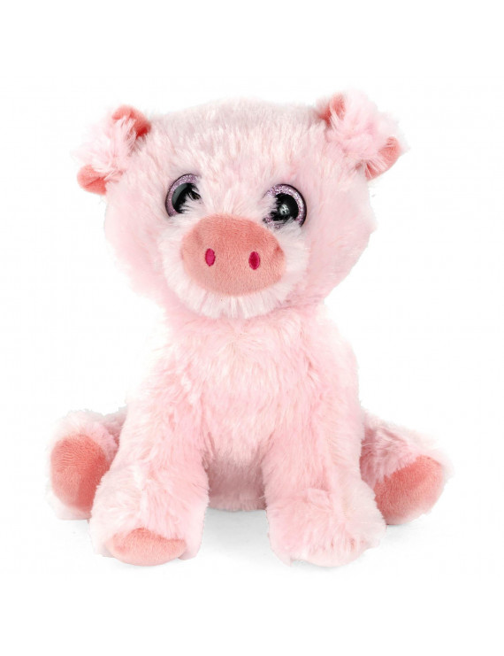 Super Soft Plush Corduroy Cuddle Farm Sitting Pig Stuffed Animal Toy, 9 inch Adorable Farm Animal with Glitter Eyes